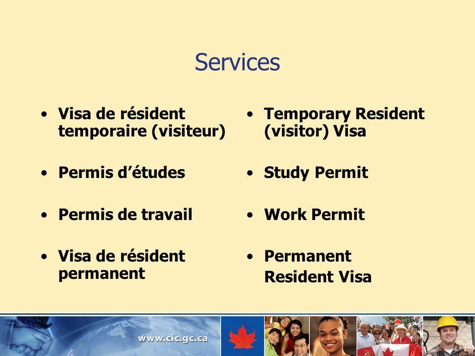 Services Visa de résident temporaire (visiteur) Permis détudes Permis de travail Visa de résident permanent Temporary Resident (visitor) Visa Study Pe