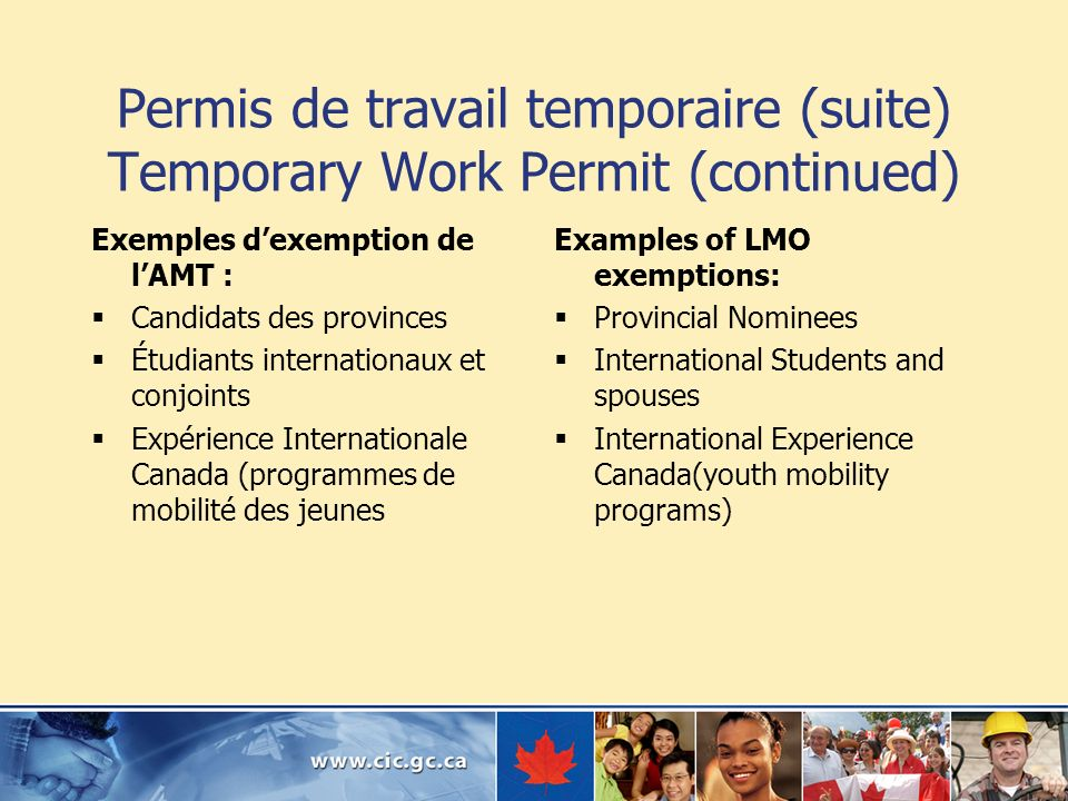 Permis de travail temporaire (suite) Temporary Work Permit (continued) Exemples dexemption de lAMT : Candidats des provinces Étudiants internationaux