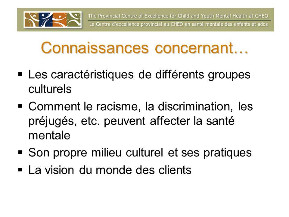 Connaissances concernant… Les caractéristiques de différents groupes culturels Comment le racisme, la discrimination, les préjugés, etc. peuvent affec