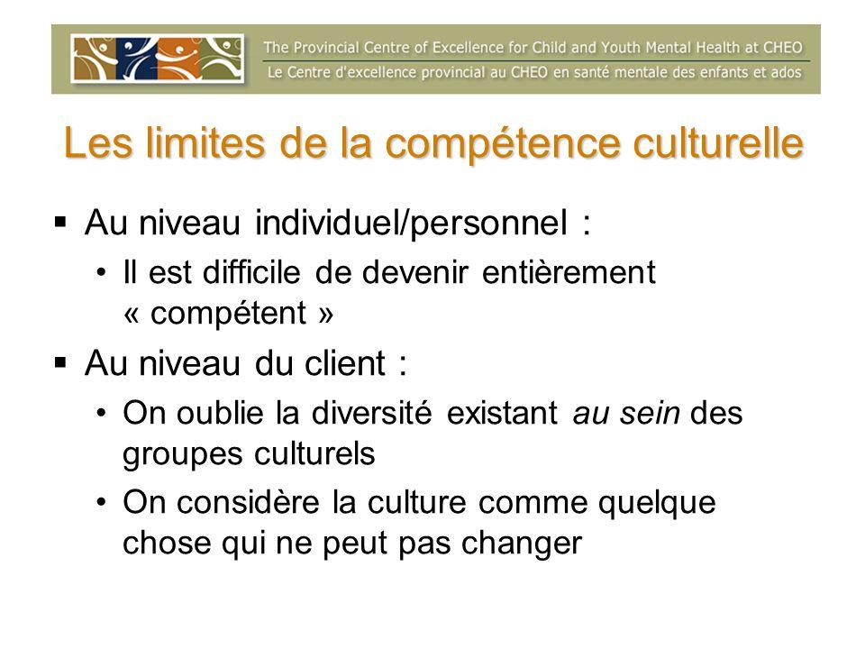 Les limites de la compétence culturelle Au niveau individuel/personnel : Il est difficile de devenir entièrement « compétent » Au niveau du client : O