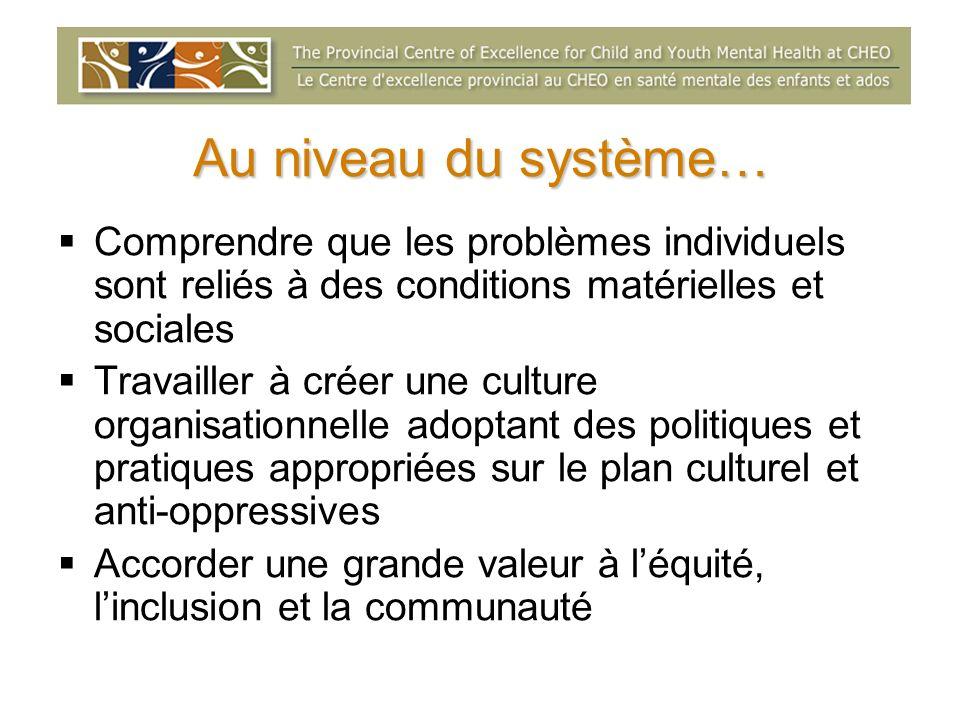 Au niveau du système… Comprendre que les problèmes individuels sont reliés à des conditions matérielles et sociales Travailler à créer une culture org