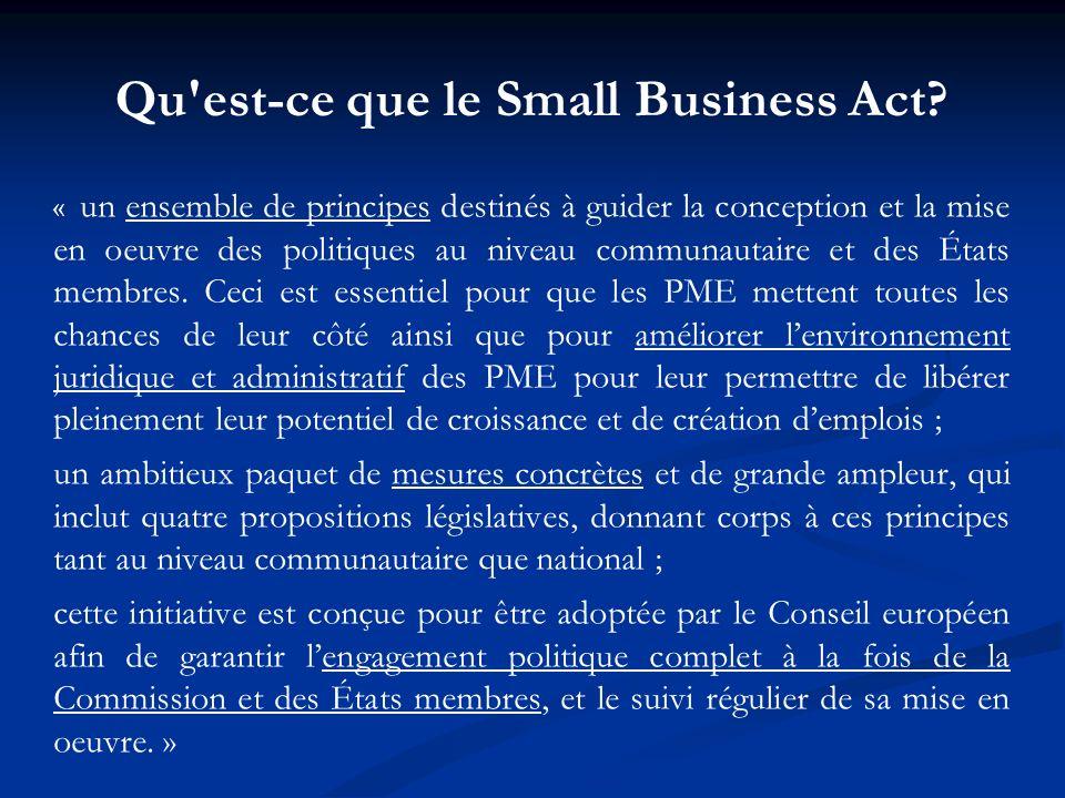 Qu'est-ce que le Small Business Act? « un ensemble de principes destinés à guider la conception et la mise en oeuvre des politiques au niveau communau