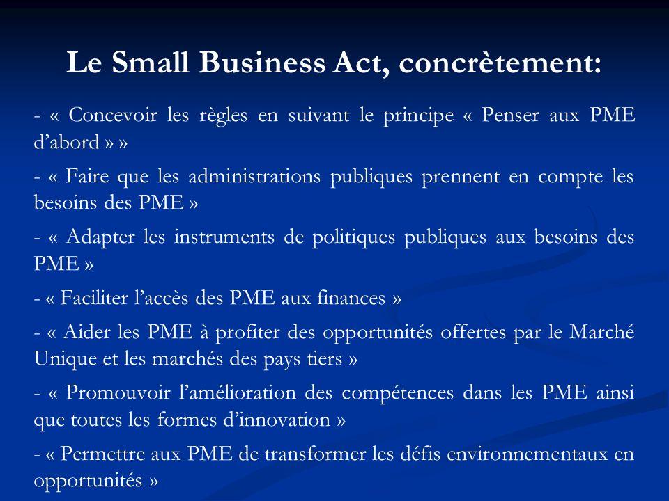 Le Small Business Act, concrètement: - « Concevoir les règles en suivant le principe « Penser aux PME dabord » » - « Faire que les administrations pub