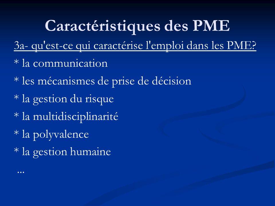 Caractéristiques des PME 3a- qu'est-ce qui caractérise l'emploi dans les PME? * la communication * les mécanismes de prise de décision * la gestion du