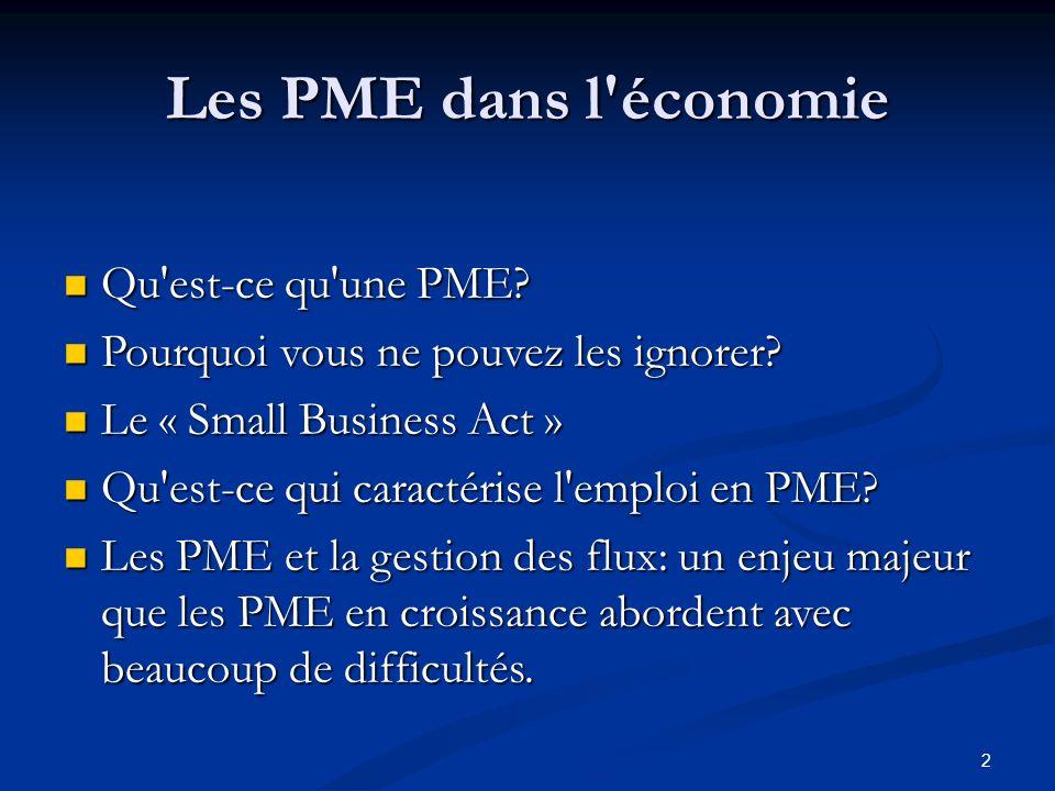 Les PME dans l'économie Qu'est-ce qu'une PME? Qu'est-ce qu'une PME? Pourquoi vous ne pouvez les ignorer? Pourquoi vous ne pouvez les ignorer? Le « Sma