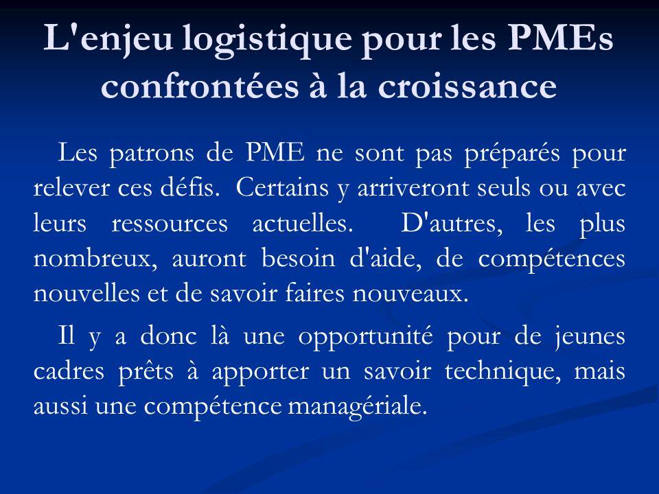 L'enjeu logistique pour les PMEs confrontées à la croissance Les patrons de PME ne sont pas préparés pour relever ces défis. Certains y arriveront seu