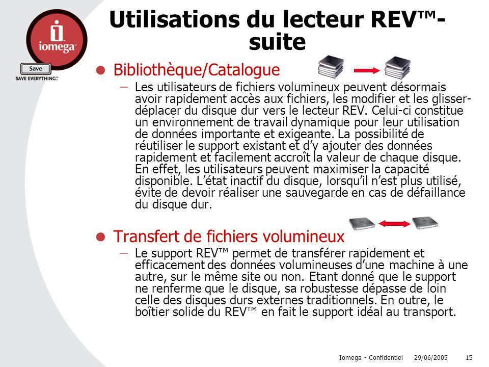 29/06/2005 Iomega - Confidentiel 15 Utilisations du lecteur REV- suite Bibliothèque/Catalogue Les utilisateurs de fichiers volumineux peuvent désormai