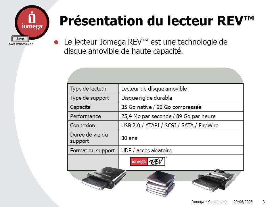 29/06/2005 Iomega - Confidentiel 3 Présentation du lecteur REV Le lecteur Iomega REV est une technologie de disque amovible de haute capacité. Type de