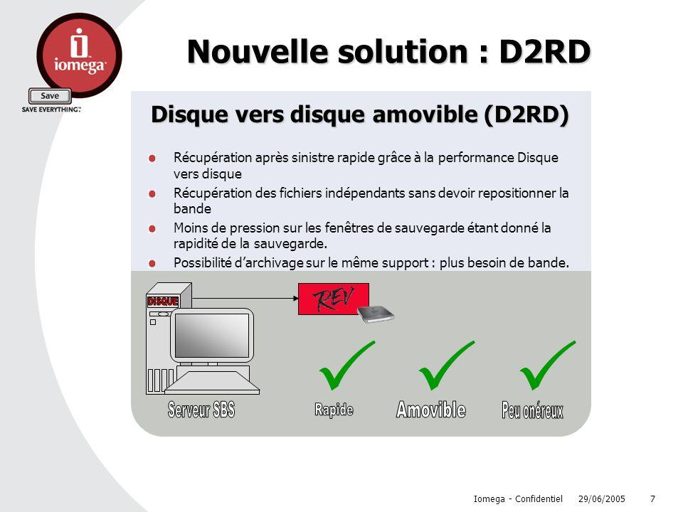 29/06/2005 Iomega - Confidentiel 7 Nouvelle solution : D2RD Disque vers disque amovible (D2RD) Récupération après sinistre rapide grâce à la performan