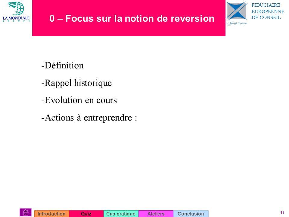 11 0 – Focus sur la notion de reversion QuizIntroductionCas pratiqueAteliersConclusion -Définition -Rappel historique -Evolution en cours -Actions à e