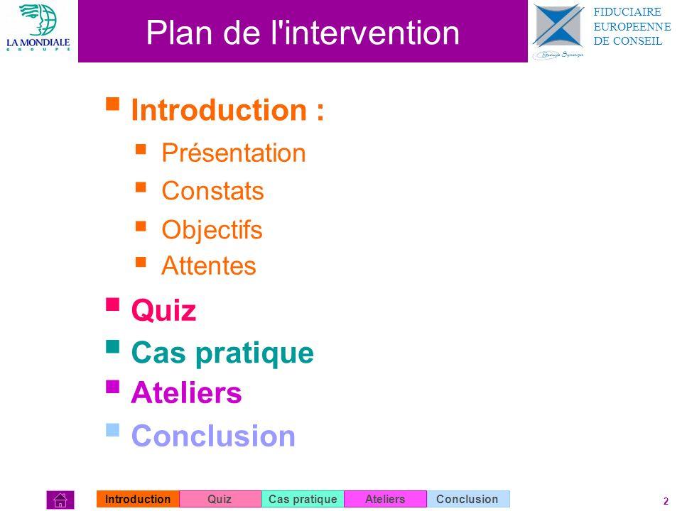 2 Plan de l'intervention Introduction : Introduction : Quiz Cas pratique Ateliers Conclusion Présentation Constats Attentes Objectifs IntroductionQuiz