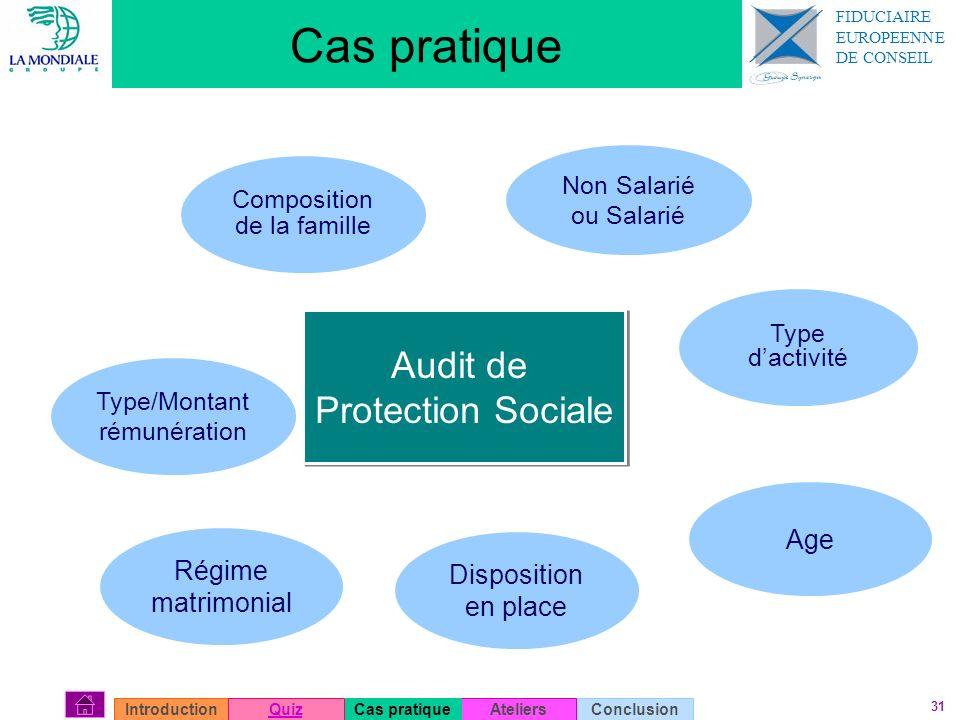 31 Cas pratique Type/Montant rémunération Non Salarié ou Salarié Type dactivité Disposition en place Composition de la famille Régime matrimonial Age