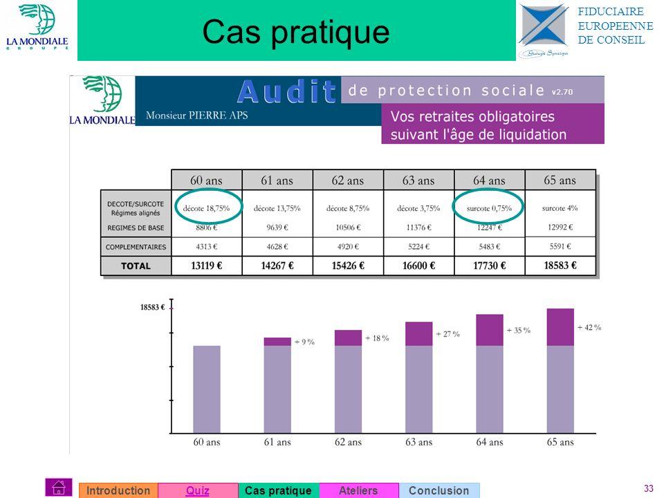 33 Cas pratique AteliersConclusionIntroductionQuizCas pratique FIDUCIAIRE EUROPEENNE DE CONSEIL
