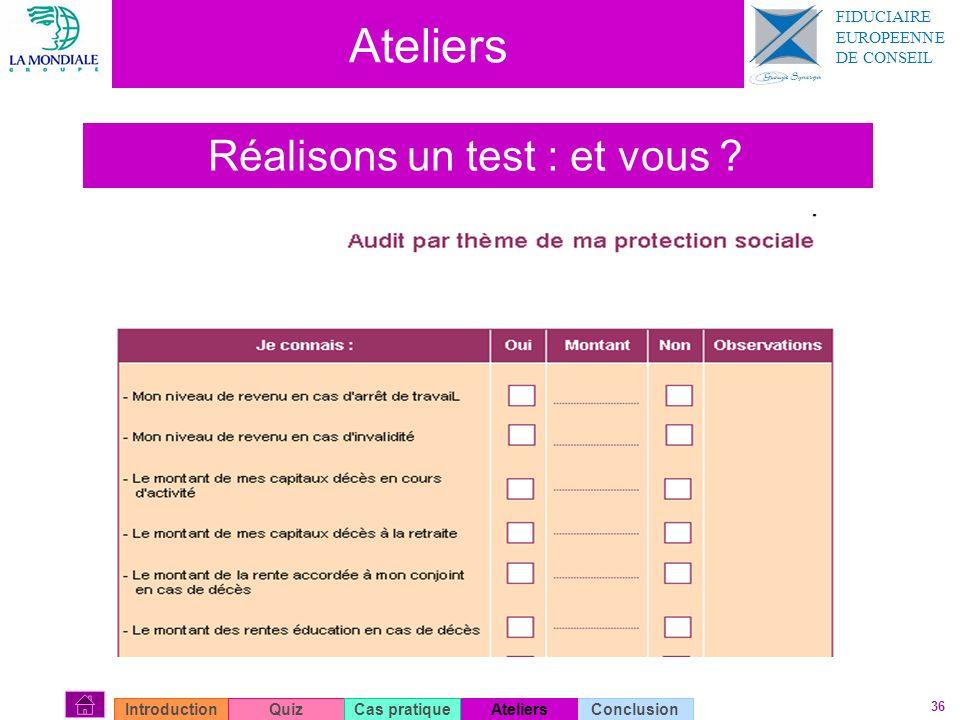 36 Ateliers Réalisons un test : et vous ? ConclusionIntroductionQuizAteliersCas pratique FIDUCIAIRE EUROPEENNE DE CONSEIL