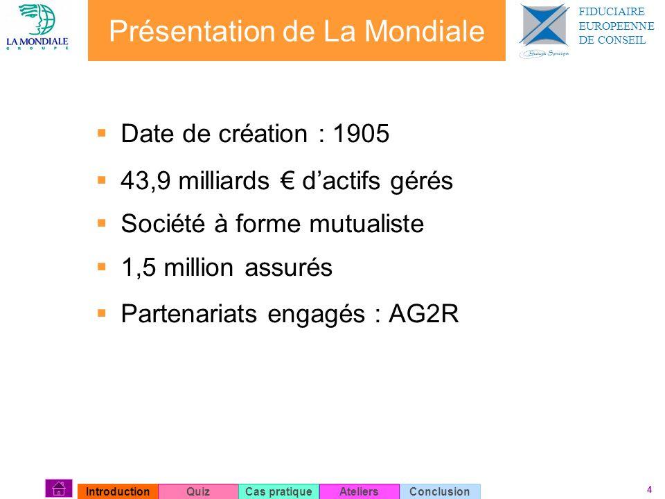 4 Présentation de La Mondiale Date de création : 1905 43,9 milliards dactifs gérés Société à forme mutualiste 1,5 million assurés Partenariats engagés