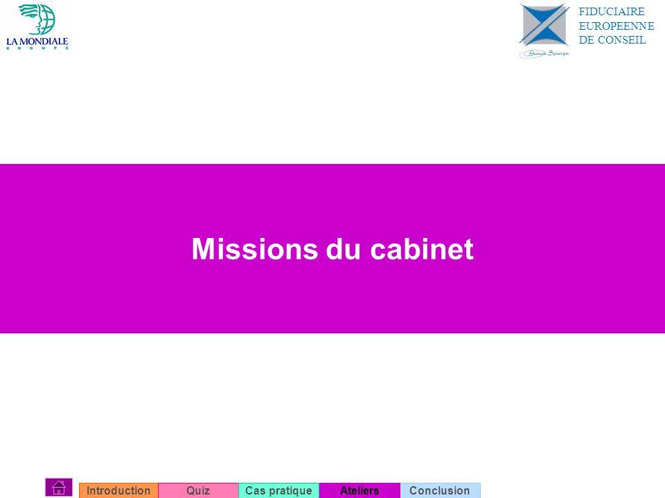 Missions du cabinet ConclusionIntroductionQuizAteliersCas pratique FIDUCIAIRE EUROPEENNE DE CONSEIL