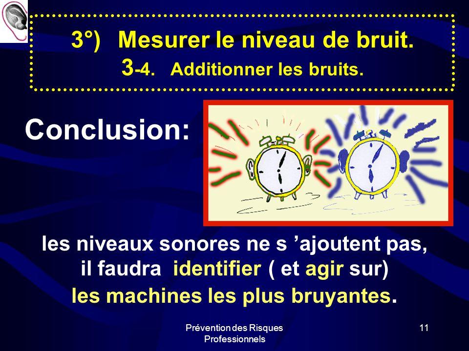 Prévention des Risques Professionnels 10 3°)Mesurer le niveau de bruit. 3 -4. Additionner les bruits. 1 machine=80 dB (A) 2 machines80 + 80 dB=83 dB (