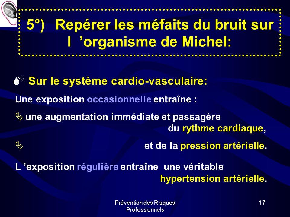 Prévention des Risques Professionnels 16 5°)Repérer les méfaits du bruit sur l organisme de Michel: Sur le système nerveux: Il entraîne une baisse de