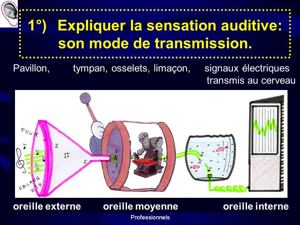 Prévention des Risques Professionnels 2 1°)Expliquer la sensation auditive: son mode de transmission.
