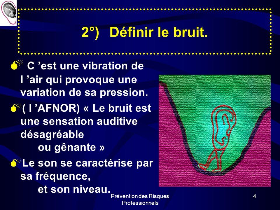 Prévention des Risques Professionnels 14 5°)Repérer les méfaits du bruit: Le bruit est responsable de la surdité qui est reconnue comme Maladie Professionnelle.