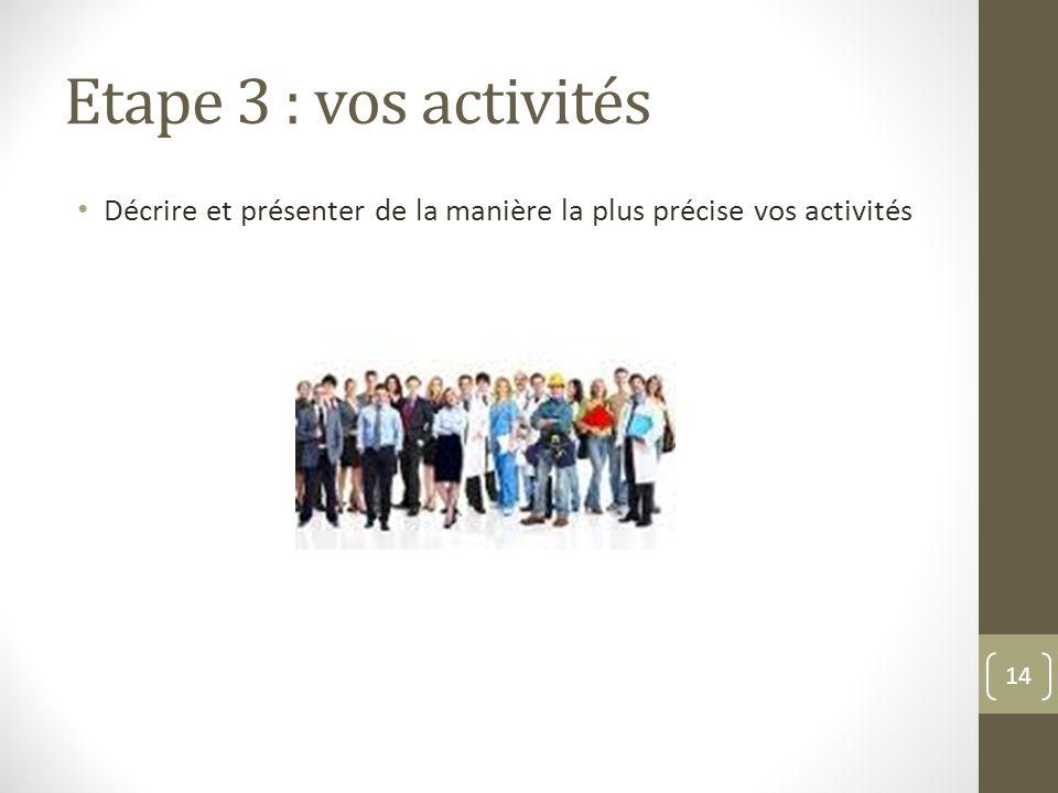 Etape 3 : vos activités Décrire et présenter de la manière la plus précise vos activités 14