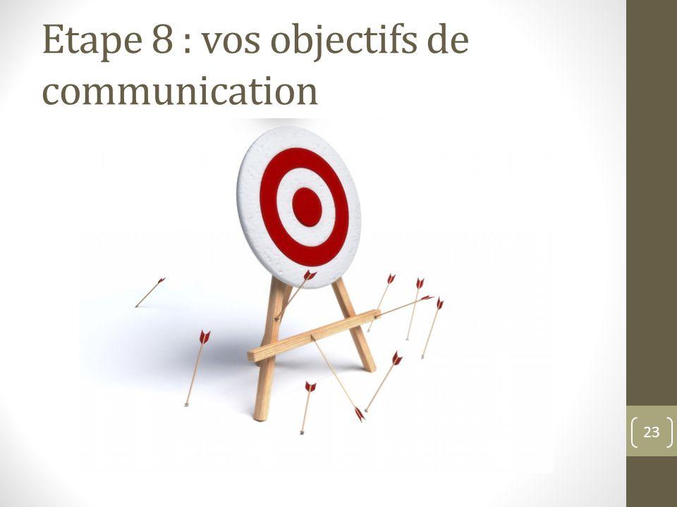 Etape 8 : vos objectifs de communication 23