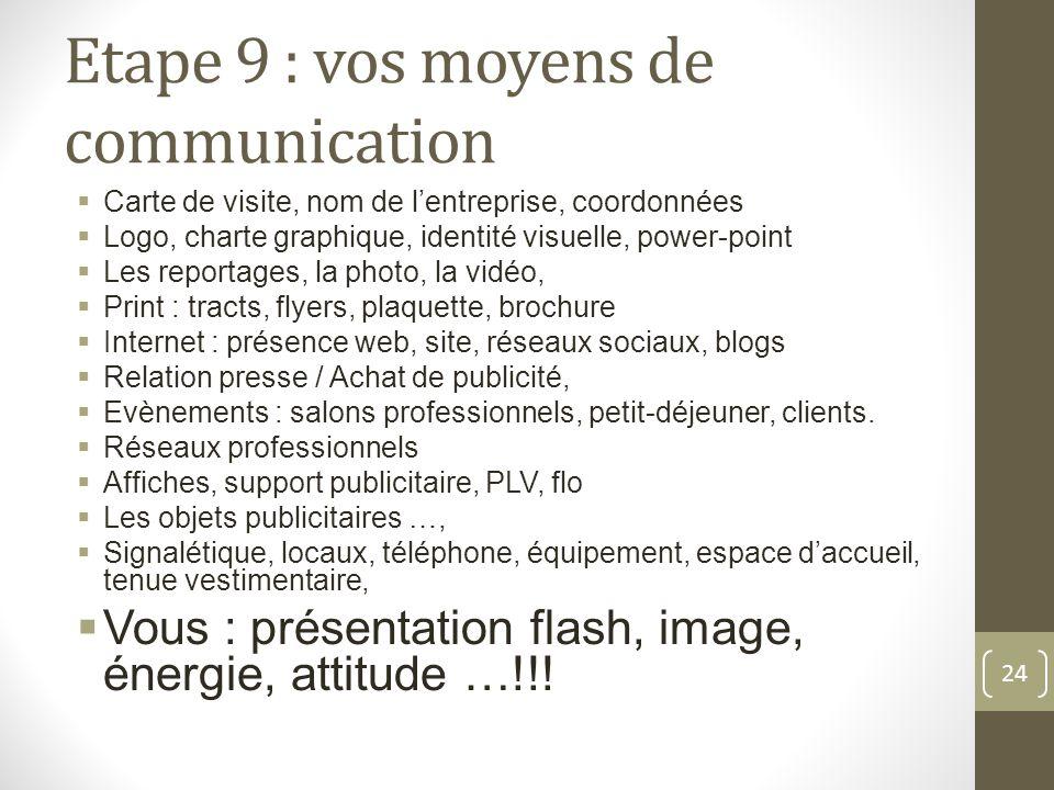 Etape 9 : vos moyens de communication Carte de visite, nom de lentreprise, coordonnées Logo, charte graphique, identité visuelle, power-point Les repo