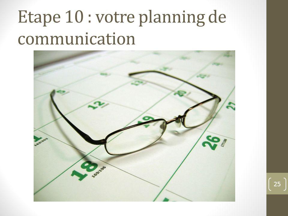 Etape 10 : votre planning de communication 25
