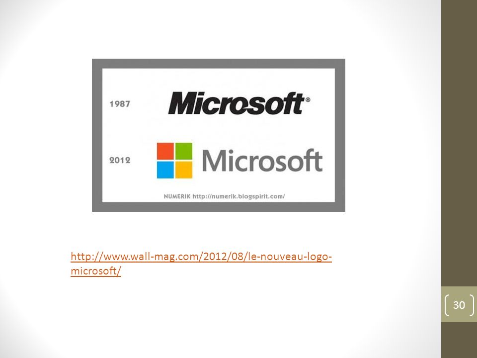 30 http://www.wall-mag.com/2012/08/le-nouveau-logo- microsoft/
