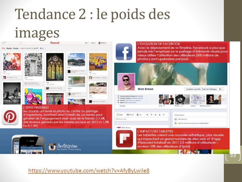 Tendance 2 : le poids des images 33 https://www.youtube.com/watch?v=AfyByLwiIe8