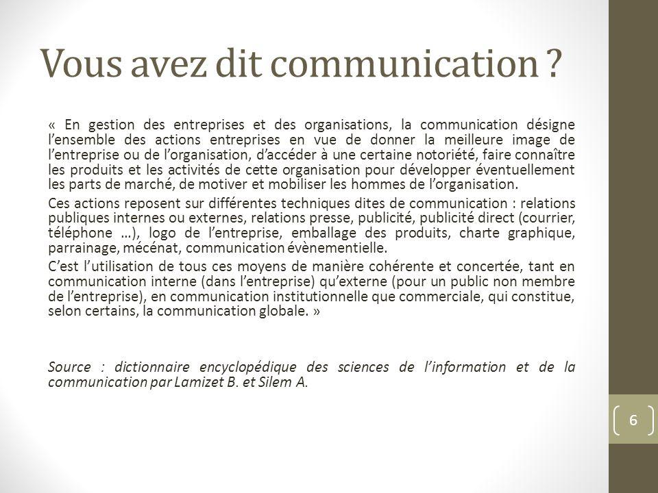 Vous avez dit communication ? « En gestion des entreprises et des organisations, la communication désigne lensemble des actions entreprises en vue de