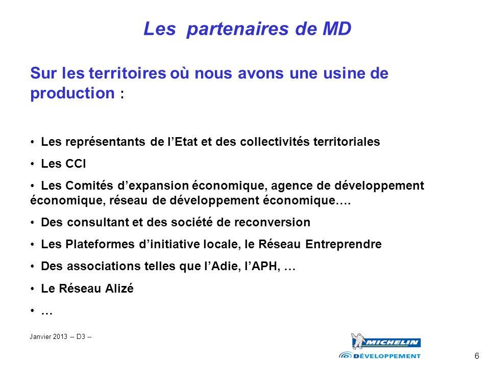 6 Les partenaires de MD Sur les territoires où nous avons une usine de production : Les représentants de lEtat et des collectivités territoriales Les