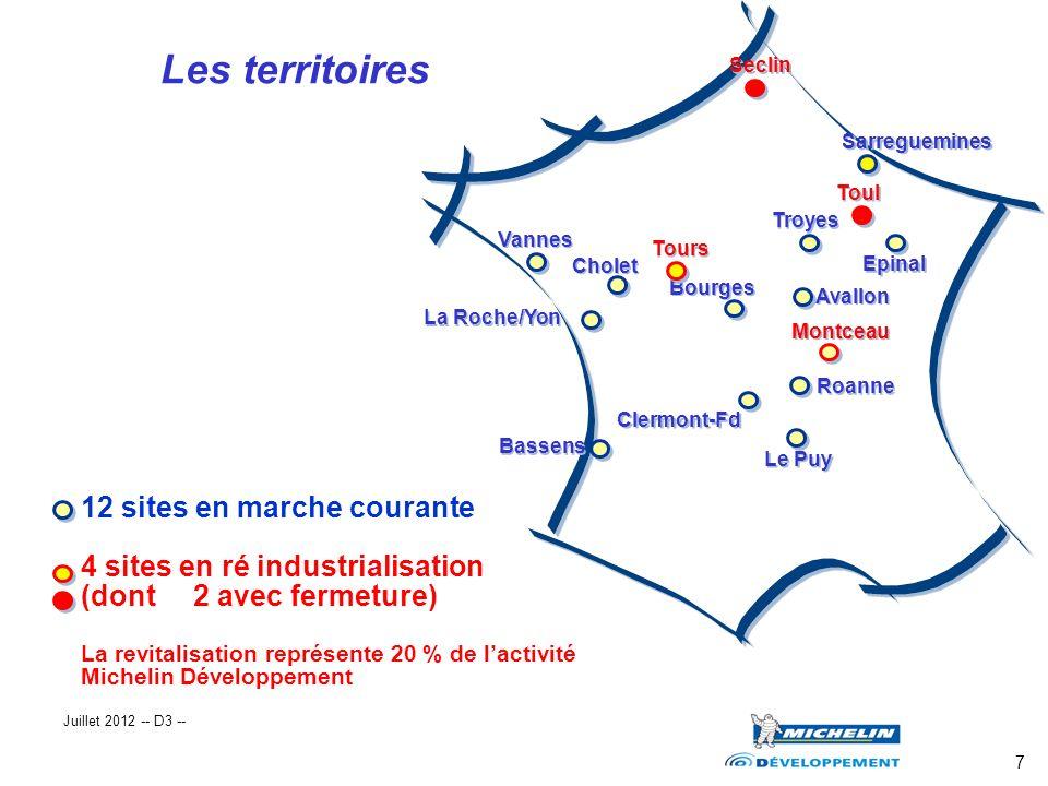 7 12 sites en marche courante 4 sites en ré industrialisation (dont 2 avec fermeture) La revitalisation représente 20 % de lactivité Michelin Développ