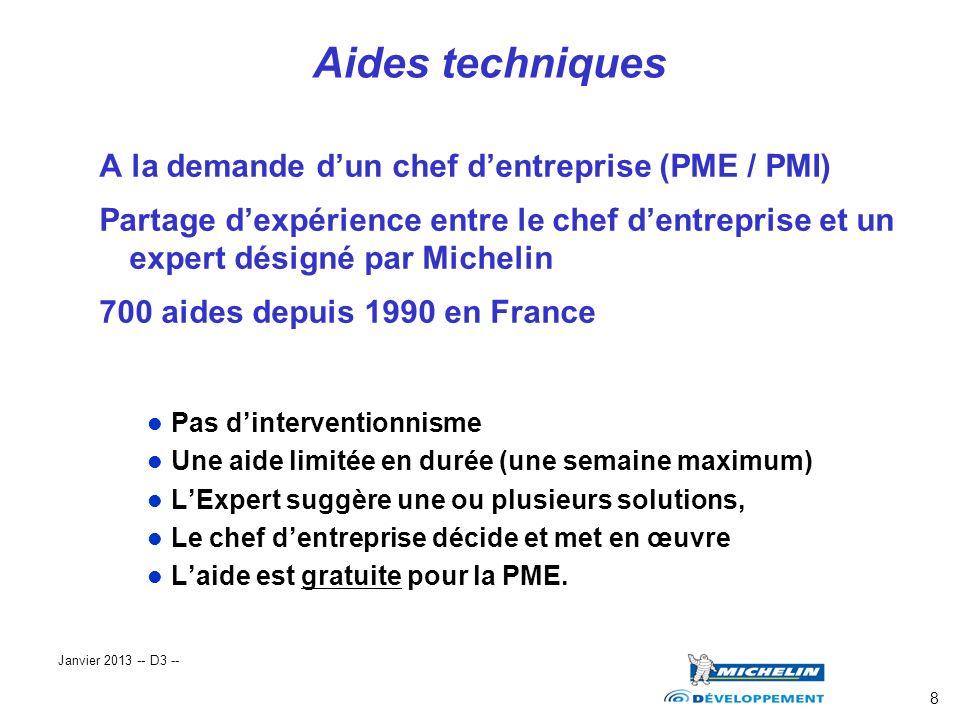 8 A la demande dun chef dentreprise (PME / PMI) Partage dexpérience entre le chef dentreprise et un expert désigné par Michelin 700 aides depuis 1990