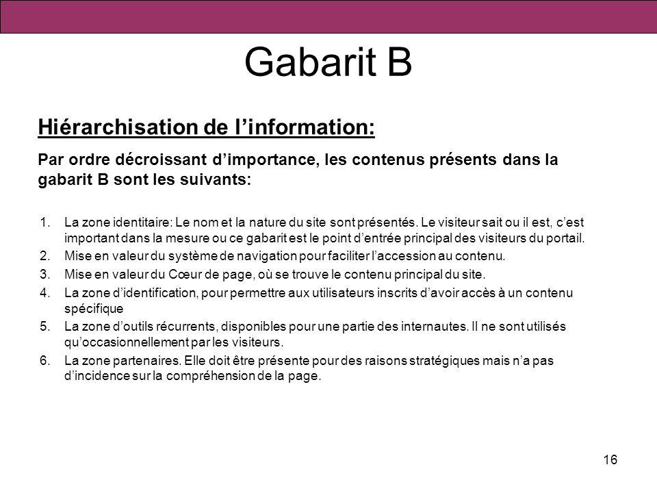 16 Gabarit B 1.La zone identitaire: Le nom et la nature du site sont présentés. Le visiteur sait ou il est, cest important dans la mesure ou ce gabari