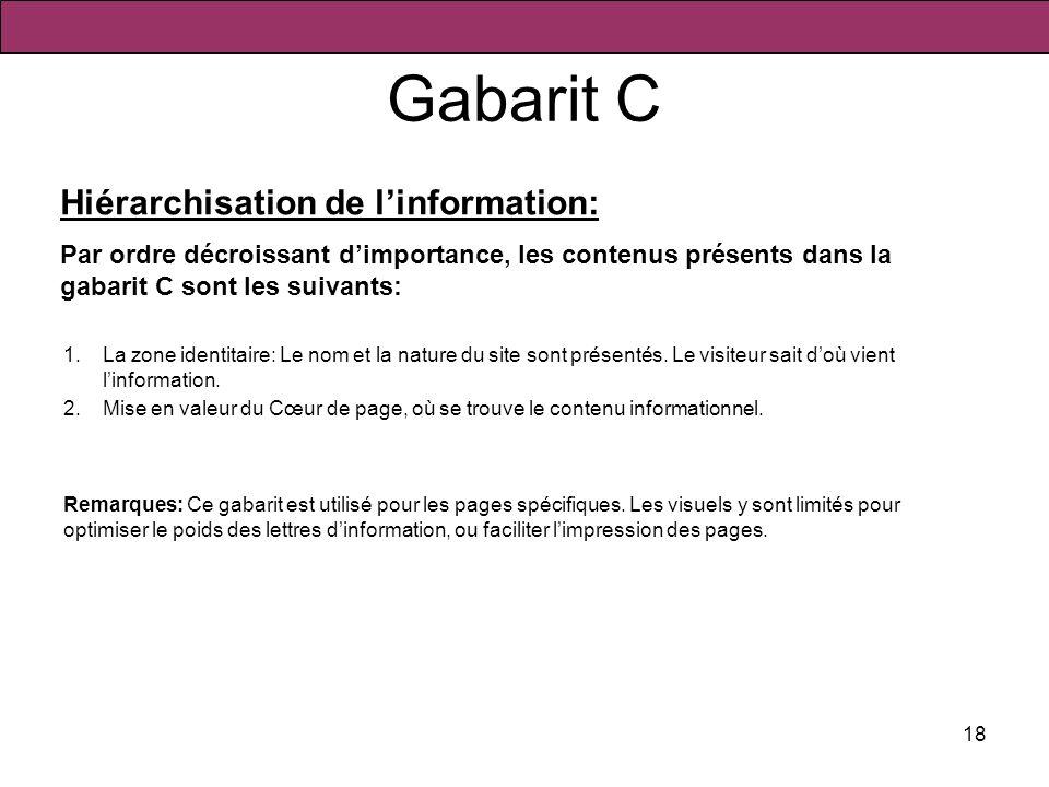 18 Gabarit C 1.La zone identitaire: Le nom et la nature du site sont présentés. Le visiteur sait doù vient linformation. 2.Mise en valeur du Cœur de p