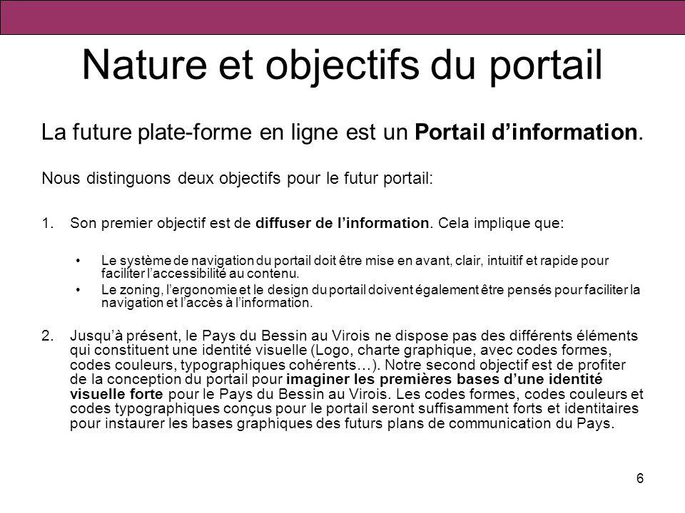 6 Nature et objectifs du portail La future plate-forme en ligne est un Portail dinformation. Nous distinguons deux objectifs pour le futur portail: 1.