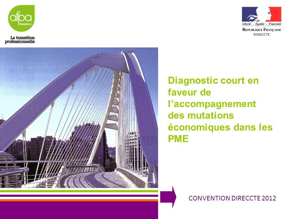 1 CONVENTION DIRECCTE 2012 Diagnostic court en faveur de laccompagnement des mutations économiques dans les PME