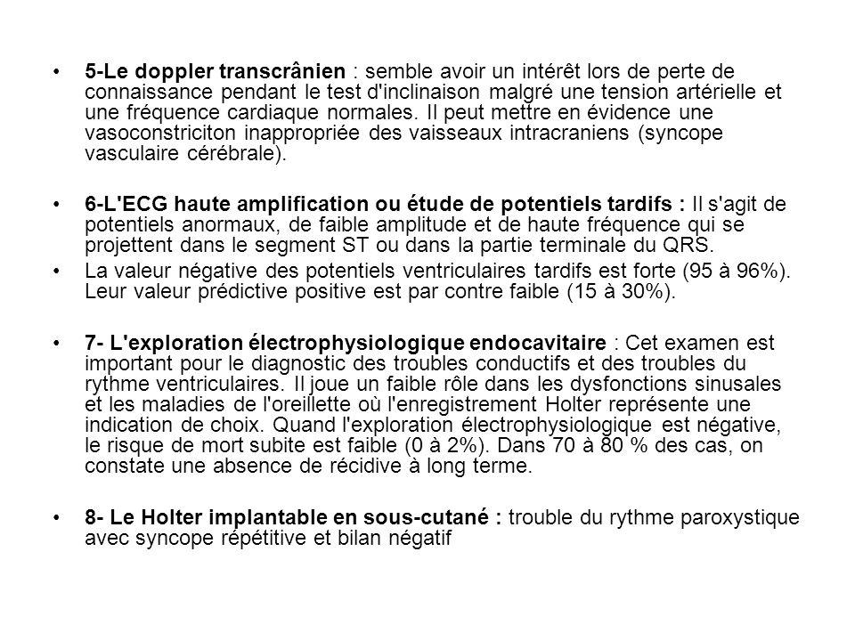 5-Le doppler transcrânien : semble avoir un intérêt lors de perte de connaissance pendant le test d'inclinaison malgré une tension artérielle et une f