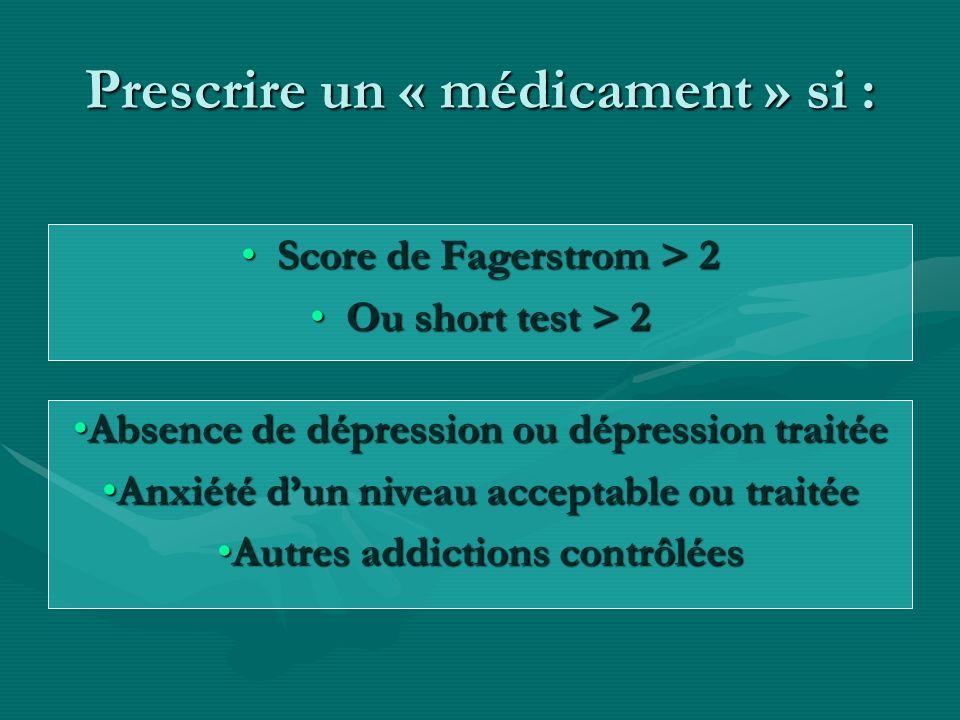 Prescrire un « médicament » si : Score de Fagerstrom > 2Score de Fagerstrom > 2 Ou short test > 2Ou short test > 2 Absence de dépression ou dépression