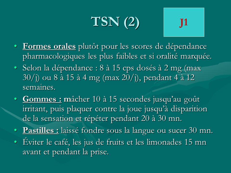 TSN (2) Formes orales plutôt pour les scores de dépendance pharmacologiques les plus faibles et si oralité marquée.Formes orales plutôt pour les score