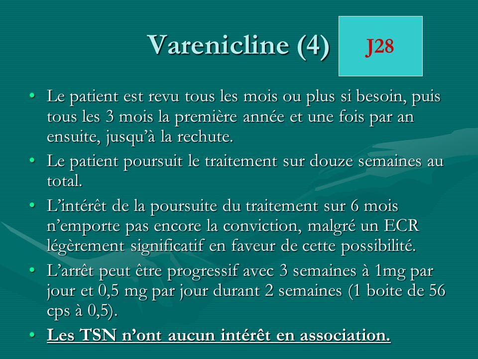 Varenicline (4) Le patient est revu tous les mois ou plus si besoin, puis tous les 3 mois la première année et une fois par an ensuite, jusquà la rech