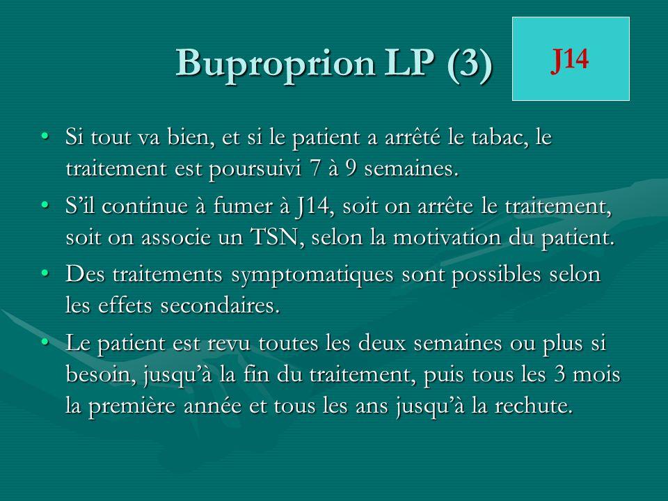 Buproprion LP (3) Si tout va bien, et si le patient a arrêté le tabac, le traitement est poursuivi 7 à 9 semaines.Si tout va bien, et si le patient a
