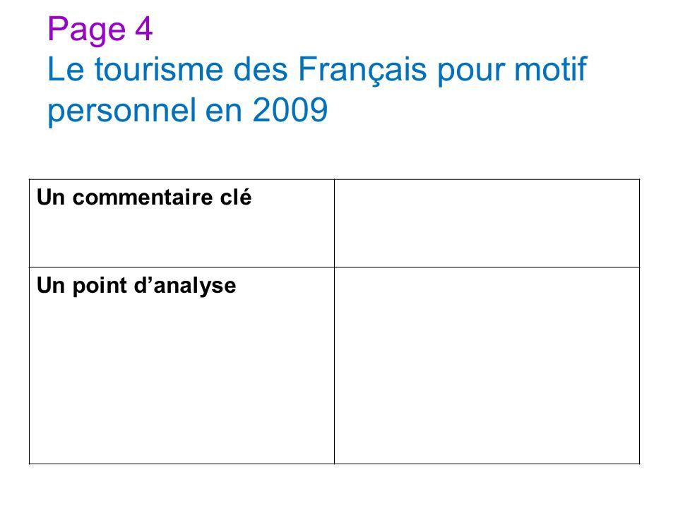 Page 4 Le tourisme des Français pour motif personnel en 2009 Un commentaire clé Un point danalyse