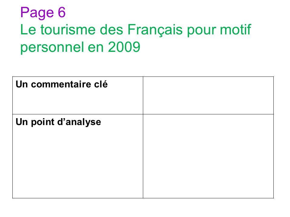 Page 6 Le tourisme des Français pour motif personnel en 2009 Un commentaire clé Un point danalyse