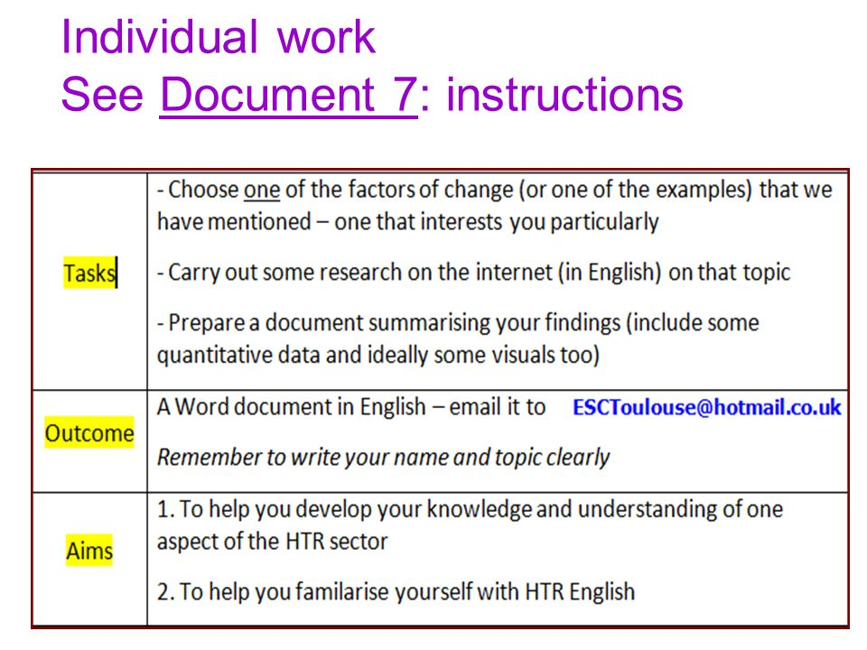 Individual work See Document 7: instructions