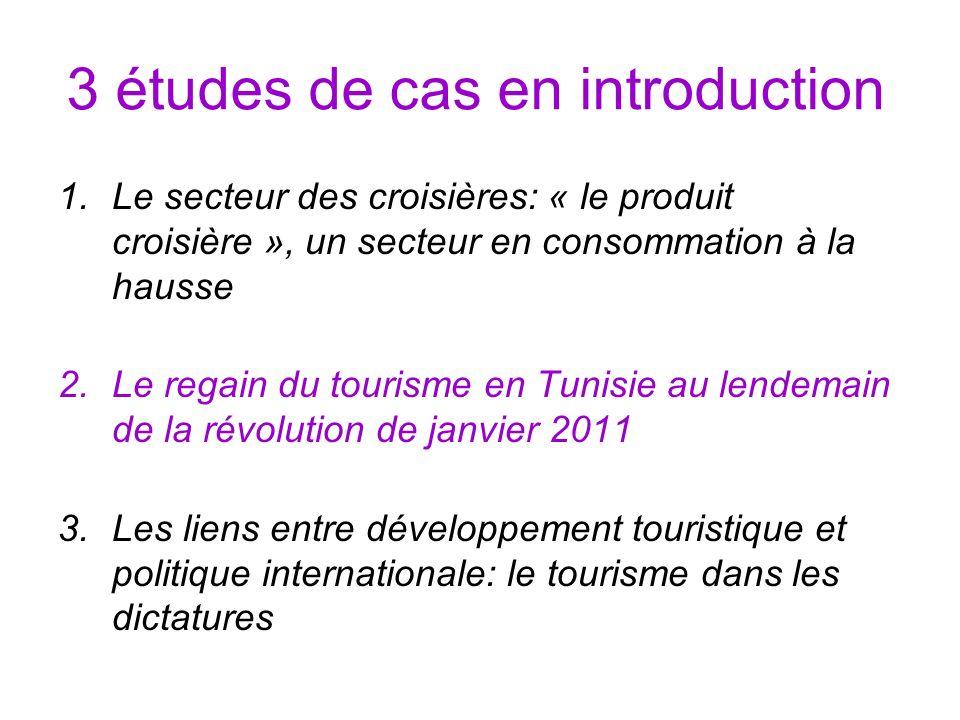 3 études de cas en introduction 1.Le secteur des croisières: « le produit croisière », un secteur en consommation à la hausse 2.Le regain du tourisme