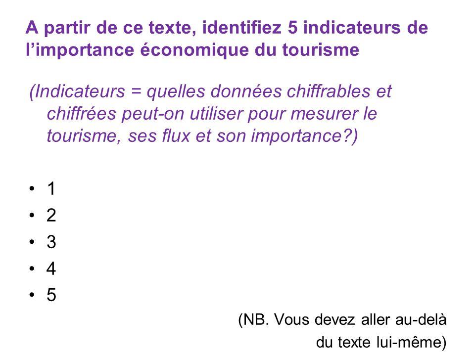 A partir de ce texte, identifiez 5 indicateurs de limportance économique du tourisme (Indicateurs = quelles données chiffrables et chiffrées peut-on u