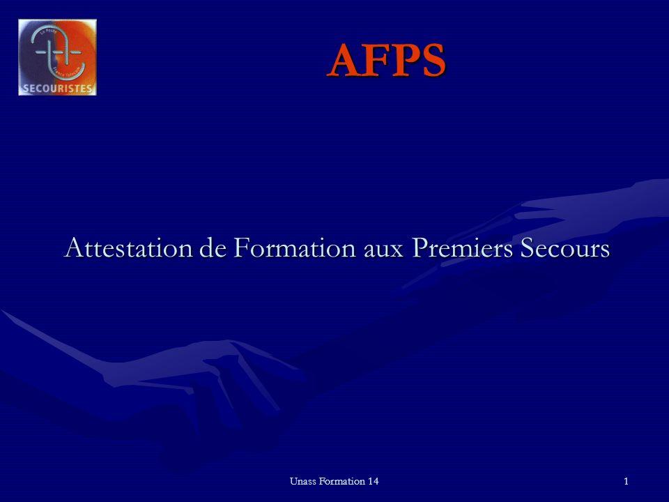 Unass Formation 141 AFPS Attestation de Formation aux Premiers Secours