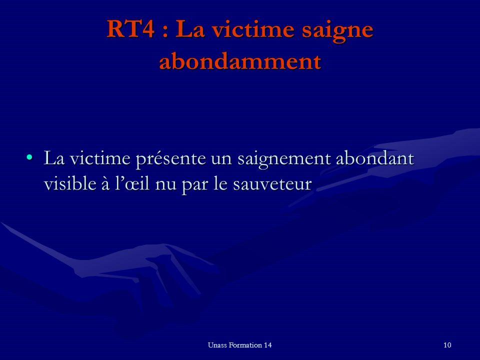 Unass Formation 1410 RT4 : La victime saigne abondamment La victime présente un saignement abondant visible à lœil nu par le sauveteurLa victime prése